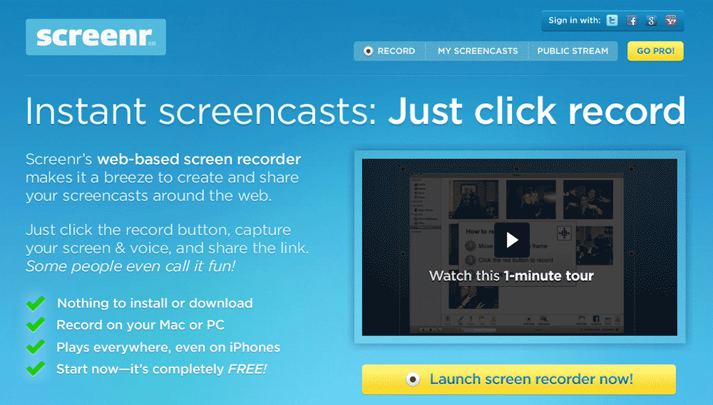 Share Your Skills With Screenr Instant Screenshots And Videos