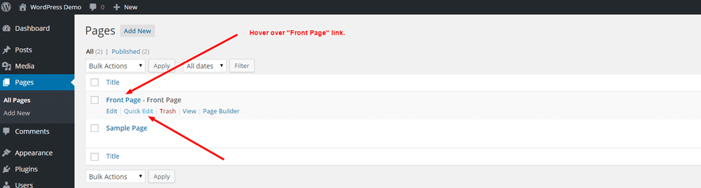 Create Front Page in WordPress - Step 7