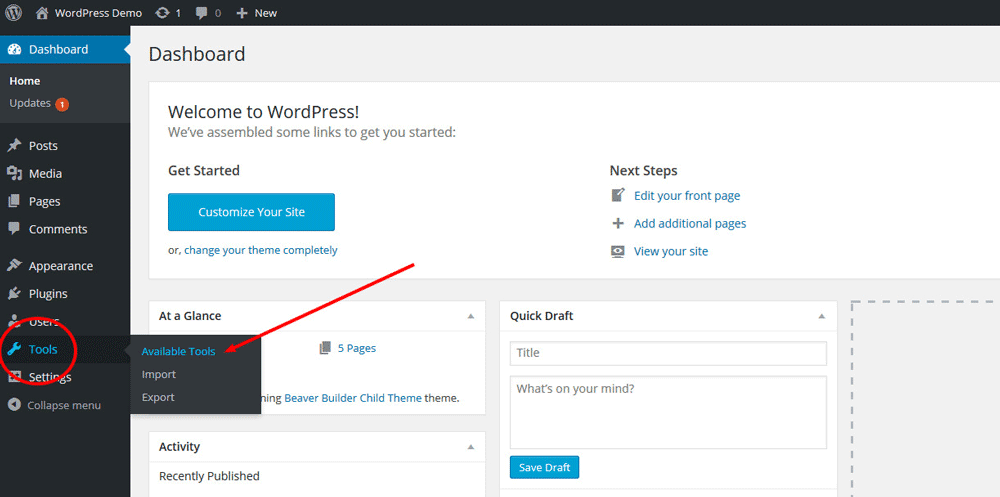 Install WordPress Press This Button - Step 1