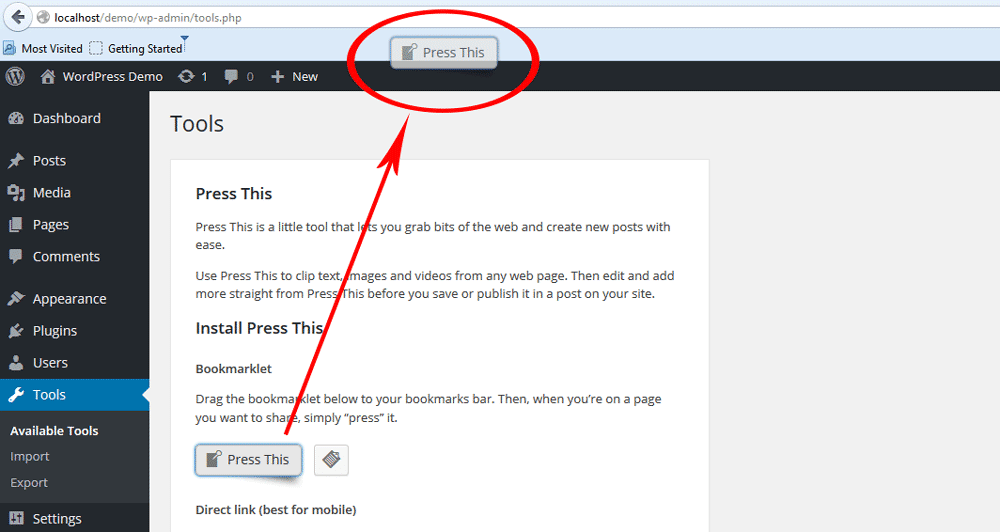 iInstall WordPress Press This Button - Step 4