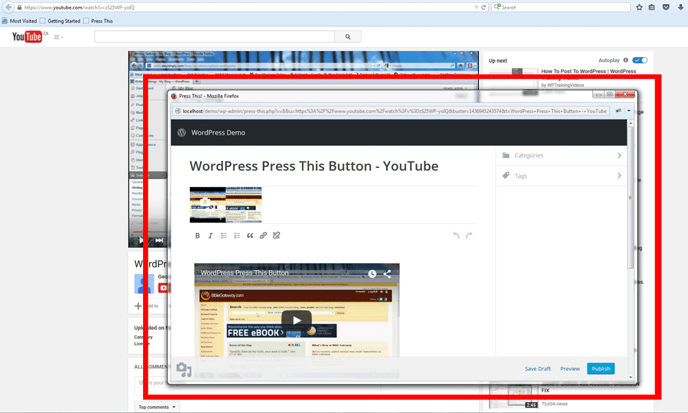Using the WordPress Press This Button