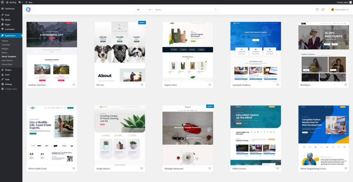 How To Build A Website Install Astra Starter Templates 2